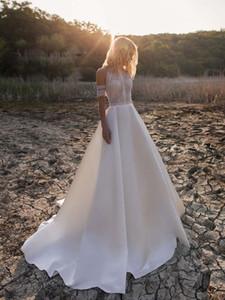 Vara los vestidos baratos de la boda bohemain 100% verdadero de los cuadros elegante de encaje apliques una línea de vestido de novia de talla Boho