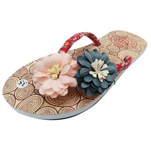 Chaussures femmes JAYCOSIN été Chaussons Non-Slip Fleur Tongs Sandales plates simples chaussons de plage Chaussures