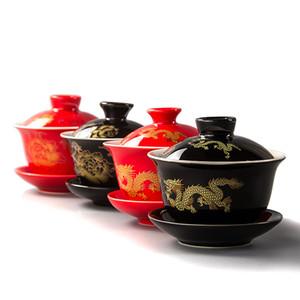 80ML rojo Tetera Cerámica Gai Wan té de China Kungfu de té del banquete de la boda tazas de té de porcelana Pot Hermosa Caldera regalos D007