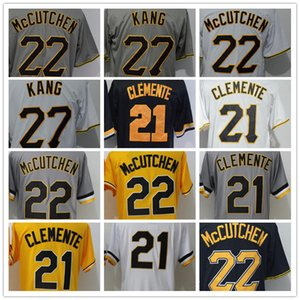 Men's Jersey 27 Kang 21 Clementes 22 McCutchens Black White Grey Yellow Stitched Yellow Baseball Jerseys High Quality
