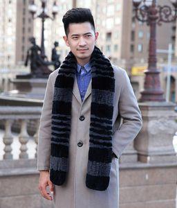 [YCFUR] Winter Schal Man Natur Rex Pelz-Schal-Mann-Winter-realer Pelz-Schal Wraps für Männer Dad Schal