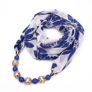 Multicolor en mousseline de soie perlée Imprimer Pendentif écharpe élégante Lady Collier FOULARD Châle Femme Printemps été Hijab Bijoux Foulards