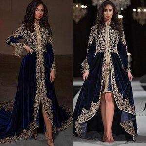 Navy Blue Velvet Arabisch Kaftane Abendkleider 2020 hohe Ansatz Quaste Langarm-formales Kleid Hallo Low Applikationen Abendkleid