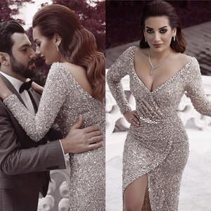 Plata de lentejuelas atractivas de lujo de Dubai profundo cuello en V vestido de noche de manga larga brillante Prom Vestidos ocasión especial de alta división del traje de soirée