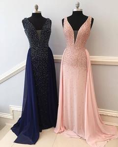 Élégante robe de soirée sirène perlée rose pailleté perlée de rose avec train détachable robes de bal bleu marine nouvelle gaine de bal