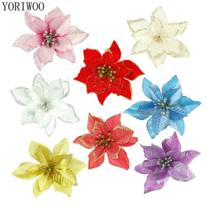 Yoriwoo 20pc Artificial For Glitter Poinsettia Fake Flowers Diy Home Wedding Decoration Flower Head Christmas C19041701
