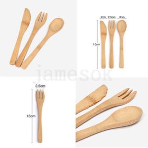 Посуда Набор Eco-Friendly Bamboo корейский Cutlery Set нож Вилка Ложка 3шт / SET Портативный Flatware Student Посуда Набор для путешествий DA199