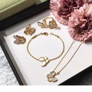 Brand 925 silver four leaf flower jewelry set for women wedding necklace bracelet earrings ring Butterfly clover mother shell CZ jewelry