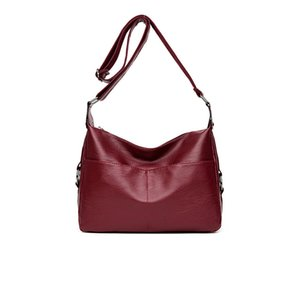 Ombro macio Bag Casual Ladies Messenger Bag bolsa 2020 New PU Couro Simples Moda Preto e Red Wine