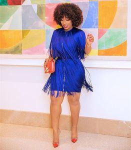 Sans manches solides Robes Sexy Ladies Holidays Mode Vêtements Designer Pure Color avec Tassel Robe Femme Femmes ras du cou