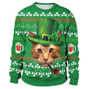 2019 최신 미스터 고양이 고양이 Leprechaun 스웨터 참신 여성 휴가 겉옷 여성 녹색 성 패트릭의 날 후드