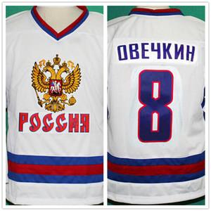 Costura dupla e bordado 8 Alex Ovechkin Jersey Branco Costurado Equipa De Hóquei Rússia Costurado Logos bordado Personalizado