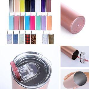 20 Unzen dünne Tumbler Edelstahl-Vakuum Gerade Cup Kaffeetasse Gläser mit Deckel und Strohhalm Bier-Becher 25pcs T1I2030-2 Isolierte