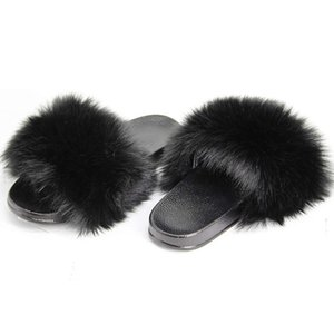 Fur Slides Slippers for Women Toddler Girls Feather Slip On Summer Furry Sandals Flip Flops Home Shoes Flats Y200706