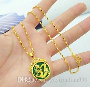 Socialite high-end low price high quality natural high jade dragon pendant inlay gold fiiled necklacei up-market