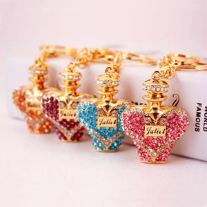 Creative Crystal Diamond perfume bottle car key chain Women's bag accessories metal pendant small gift gift