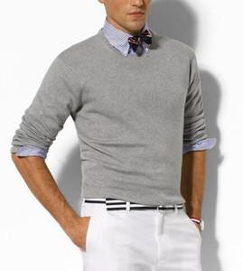 Otoño 2019 nuevo de alta calidad suéter suéter Logotipo de la marca del potro de los hombres suéter delgado suéter del suéter del O-cuello de gran tamaño S-XXL de los hombres