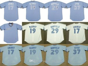 Homens 19 FRED McGriff 37 Dave Stieb 29 JESSE BARFIELD 17 Kelly Gruber Toronto 1999 basebol Jersey 02