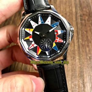 Kaliteli Admiral'in Kupa Legend 42 A395 / AB12 Siyah Dial Otomatik Erkek İzle Çelik Kasa Deri Kayış Spor Saatleri OF03 02982-395.101.20 /