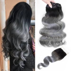 Ombre paquetes de cabello humano gris con cierre T 1B color gris extensiones de cabello brasileño brasileño peruano indio de Malasia onda del cuerpo