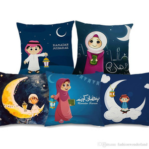 Ramadan Kareem Mubarak Cushion Covers Muslim Islam Cartoon Moon And Stars Lantern Cushion Cover Decorative Linen Pillowcase 45X45cm