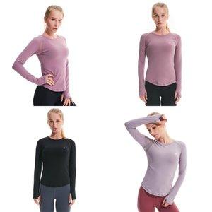 LU Damen Yoga Langarm-Frühlings-Sommer-Shorts Rundhalsausschnitt-Sport-T-Shirt Jogging Fitness Bluse dünnen Breath 69lyb UU