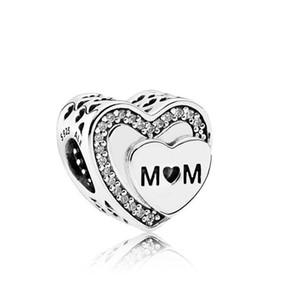 Argent réel 925 Hommage à maman de coeurs d'amour Pendentif charme pour cadeau Fête des Mères Fit Pour Bracelet Pandora Charms perles