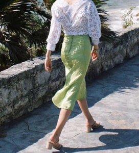 Mulheres Skirt Green Apple textura cetim dobrado único botão Row cintura alta Fishtail Skirt Hip