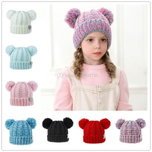 New Kid Knit Crochet Hat Girls Soft Double Balls Winter Warm Hat 12 Colors Outdoor Baby Pompom Ski Caps A197