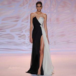 Günstige Zuhair Murad Abend-Kleider moderne reizvolle V-Ausschnitt Front High Slit-Chiffon- lange formale Partei-Kleid-Berühmtheit Kleider