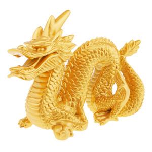 Chinese ouro Fengshui Dragão Estátua e dragão figurinhas Collectibles escultura para Sorte Sucesso