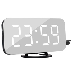Led Digital Relógio Despertador Snooze Display Time Noite Led Table Desk 2 portas USB Carregador Para Iphone Android Alarme Telefone Espelho Relógio