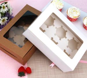 Fenêtré de petit gâteau blanc Boîtes Brown Kraft Paper Box Emballage cadeau pour Fête de mariage Party 6 Coupe gâteau Détenteurs sur mesure