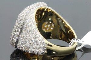 Vendita calda nuovo full ring uomini di diamanti in oro 18 K; all'ingrosso europei e americani anello intarsio colore femminile micro. dimensioni 6-12
