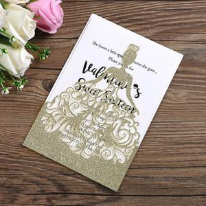 Kişiselleştirilmiş Glittery Düğün Davetiyeleri Kartları Lazer Kesim Katlanmış Kart Oymak 2019 Yeni Düğün Custom Made Şekeri