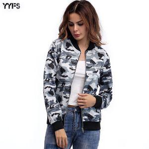 YYFS uniforme de la chaqueta de las mujeres Camo béisbol chaquetas de la capa de Calle Nueva Primavera 2019 Cremalleras otoño causal de vestir exteriores Chaqueta Mujer