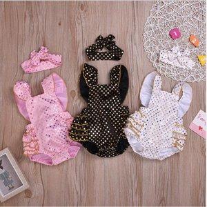 Bebek Kız Giyim Ins Paillette Giyim tulum Kafa Suits Çocuklar Yaz fırfır Tulumlar Fahion Kolsuz Bodysuit Onesies AYP470 ayarlar