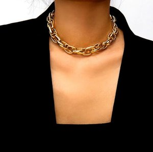 Punk Преувеличены Heavy Metal Big Толстые цепи Choker ожерелье Женщины гот Fashion Night Club Jewelry Женский Simple Twist Short Chocker Collier
