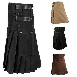 Pantalones para hombre escocés falda sólido retro clásico tradicional tela escocesa Personalidad medieval escocesa Kilts 2019 Patrón Pantalones Faldas de caballero'