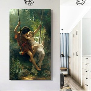 1 Pcs France Painter Pierre Auguste Cot's Springtime Posters Print on Canvas Wall Art Canvas Famous Painting for Living Room No Frame