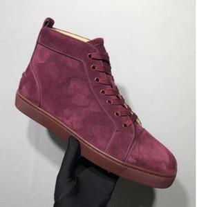 İtalya Design Kırmızı Alt Veau velur Sneaker Yüksek Top Dantel-up Ayakkabı Erkek Sneaker Kırmızı Kauçuk Sole Gri Süet Erkekler Düz Orlato Rantus Ücretsiz