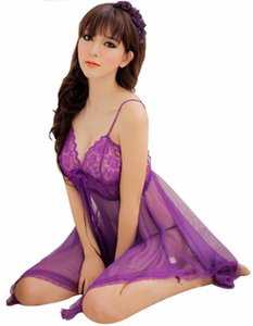 Wholesale- 2017 Sexy Nightgown Night gown Sleep dress + G-String Set Deep V Sleepwear Lingerie Black Purple nightie1
