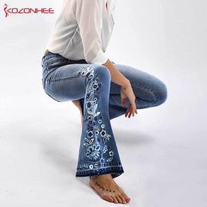 자수 플레어 청바지 여성 탄성 벨 바지 진 소녀들을위한 라이트 블루 바지 여성 청바지 대형 크기 # 72 CJ191216 스트레칭
