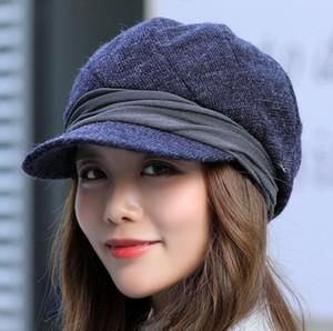 7 colores otoño invierno mujer boina sombreros octagonales Worsted Plaid vendedor de periódicos gorras estilo casual corta aleros sombreros de la bóveda regalos bonitos para niña