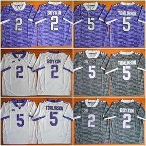 NCAA TCU Boynuzlu Kurbağalar Futbol Formalar Koleji 2 Trevone Boykin 5 LaDainian Tomlinson Renk Gri Mor Beyaz