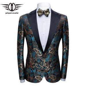 Plyesxale Floral Jacquard Blazer For Men 2020 New Spring Autumn Mens Party Blazer Jacket Luxury Stage Prom Men's Blazers Q828