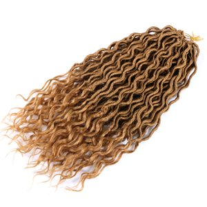 """LansO 18"""" Wavy Faux Locs Crochet Hair With Curly Ends 24Roots Faux Locs Crochet Braids Dreadlock Hair Extensions 70g pc Goddess Locs"""