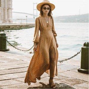 Neck Split Sexy Maxi платья в горошек Печать с длинным рукавом летние платья женской одежды Womens V