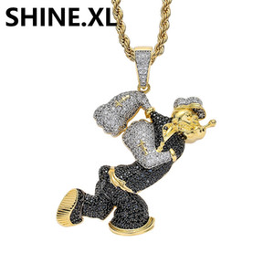 Mens Hip Hop Jewelry Cartoon Popeye Collana Pendente Collana Due tono Colore Iced Out Zircone Stone Jewelry Jewelry Homme