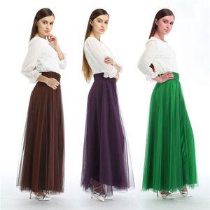 Ucuz Ücretsiz Kargo Kadınlar Midi Buzağı Uzun Tül Etekler A Hattı Yüksek Bel Kadınlar Caroline Petticoats jüpon Evlilik Yeni CPA839